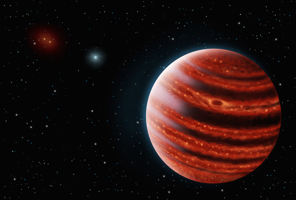 An artistic conception of the Jupiter-like exoplanet, 51 Eri b, seen in the near-infrared light that shows the hot layers deep in its atmosphere glowing through clouds. Because of its young age, this young cousin of our own Jupiter is still hot and  carries information on the way it was formed 20 million years ago.  credits: Danielle Futselaar & Franck Marchis, SETI Institute