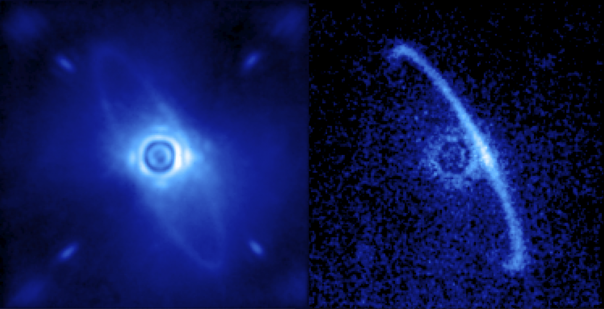 Gemini Planet Imager's first light image of the light scattered by a disk of dust orbiting the young star HR4796A.